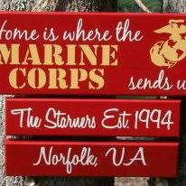 "THREE Duty Station ""Home is Where the Marine Corps, Army, Navy, Coast Guard, Air Force Sends Us"" Military family sign"