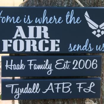 "Hand Painted ""Home is Where the COAST GUARD, Army, Navy, Marine Corps sends us"" door wall hanging sign decor"