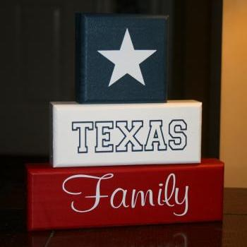 TEXAS Family Block Set Shelf Sitter Decor Lonestar State